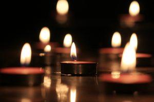 Candles light select focus, black background