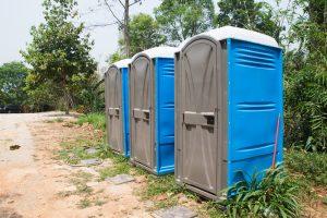 Portable Toilets in nature public park