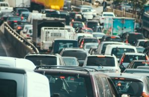 Traffic jam collapse, cars on highway