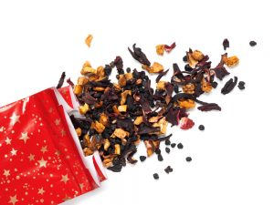 Dry tea leaves and present bag