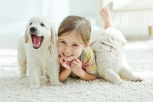 little girl with puppies, cute