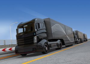 Fleet of autonomous hybrid trucks driving on highway. 3D rendering image