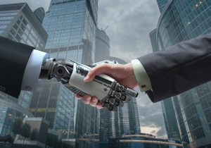 Business Human and Robot hands in handshake. Artificial intelligence technology Design Concept. Friendship between Artificial and real man