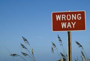 Wrong Way Sign at Beach