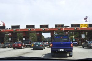 The toll plaza at the south end of the Golden Gate Bridge as seen from inside a passenger car