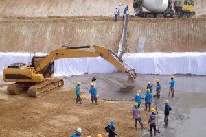 Machine and worker make lean concrete
