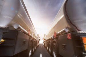 view between two oil tanker trucks