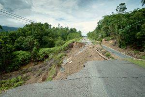 landslide destroying a road