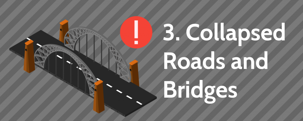 3. Collapsed Roads and Bridges